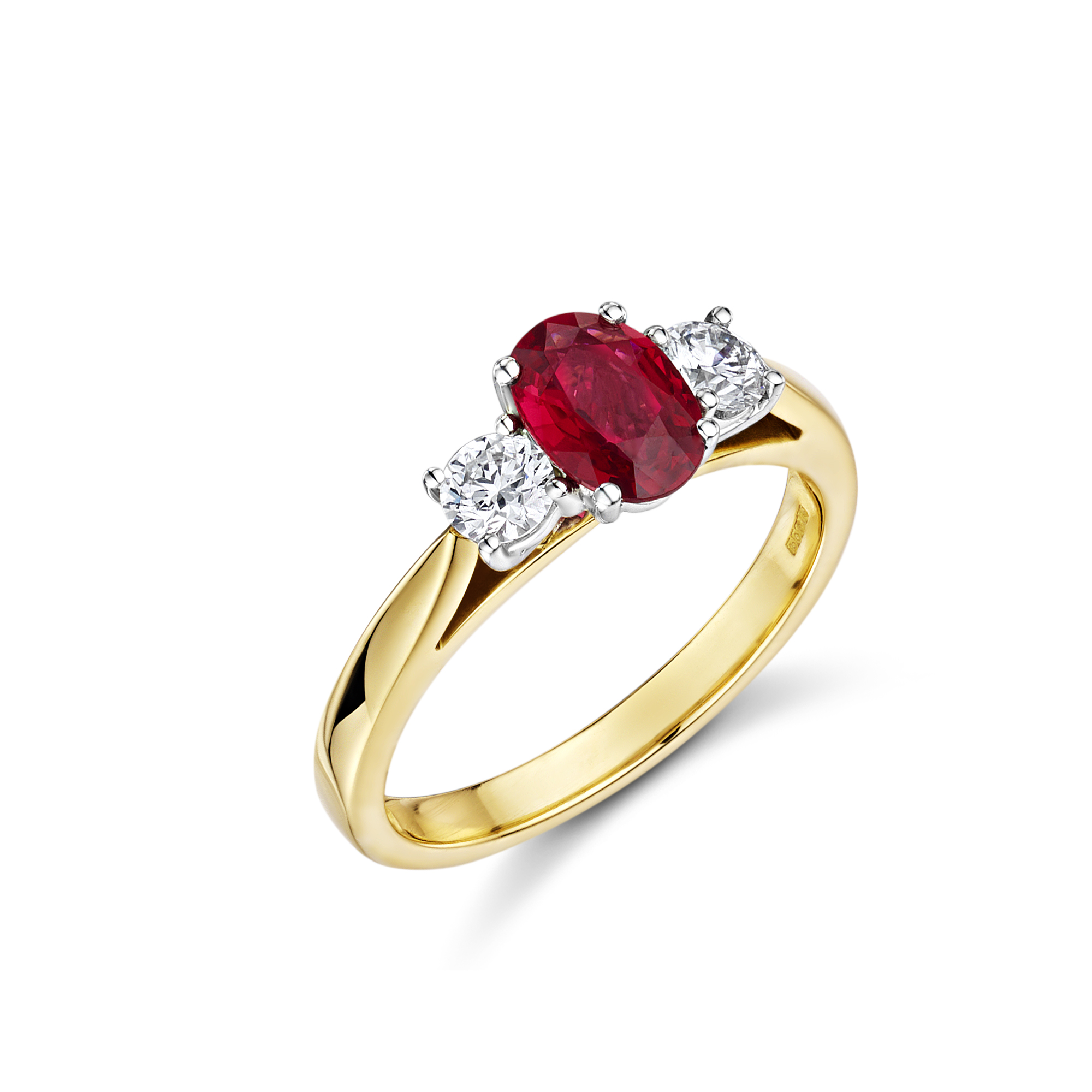 Stunning red Spinel and 2 Diamond ring