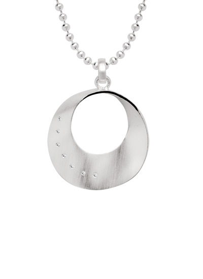 Diamond set silver circular pendant