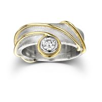 Diamond ring with gold edge