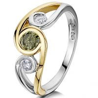 Green and white Diamond ring