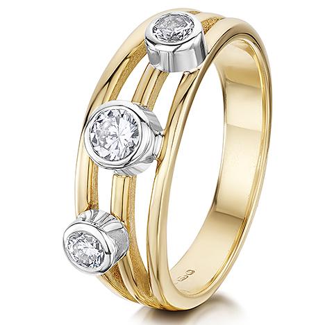 3 Diamond 3 strand ring