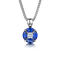 Marquise cut Sapphire and Diamond pendant