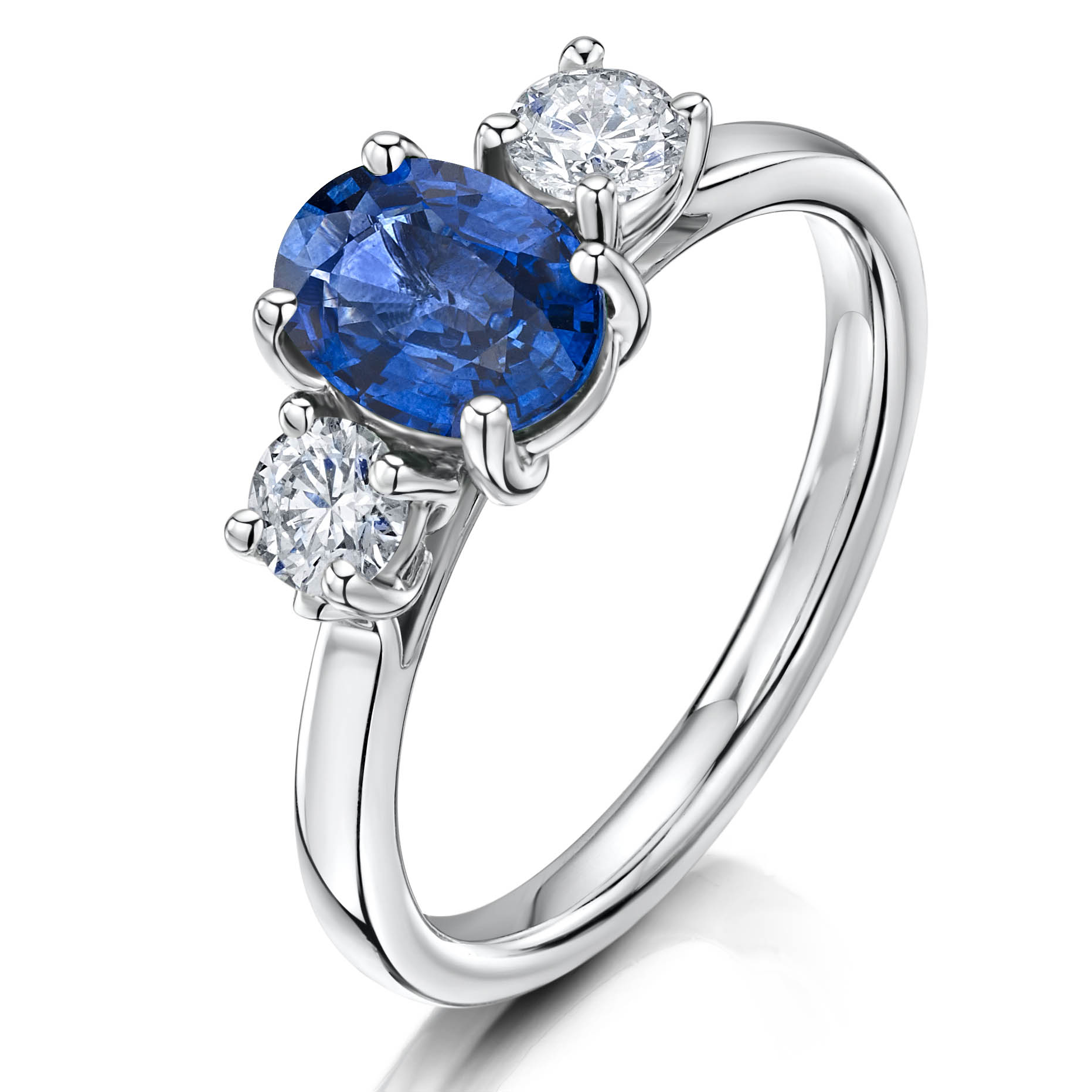 Oval Sapphire and 2 Diamond ring