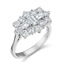 Baguette and round brilliant cut Diamond cluster